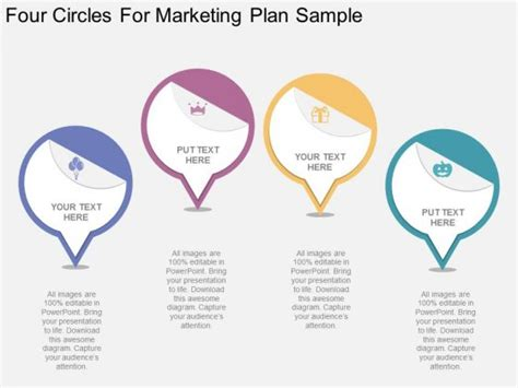four circles for marketing plan sample powerpoint template
