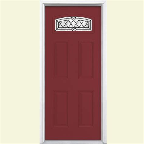 Vinyl Exterior Doors Masonite 36 In X 80 In Halifax Camber Fan Left Painted Smooth Fiberglass Prehung Front