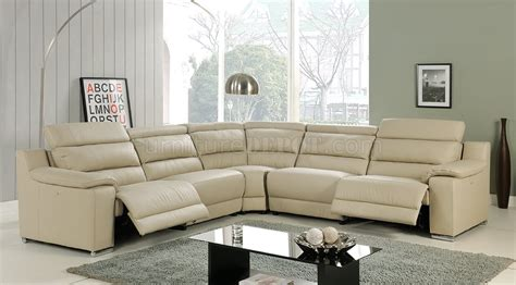beige leather reclining sofa elda reclining sectional sofa in beige leather by at home usa