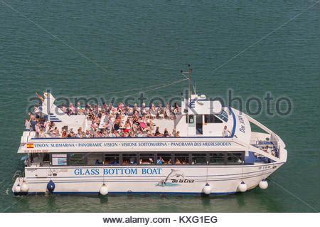 glass bottom boat menorca mahon glass bottom boat mahon harbour menorca stock photo