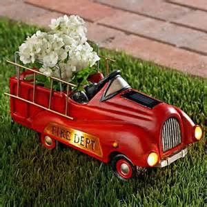 solar garden firetruck planter ebay