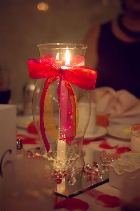 Table Centerpiece   mirror, jewels, candle, hurricane