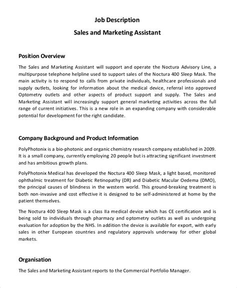 Sales Assistant Description Template marketing assistant description 8 free word pdf