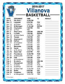 printable xavier basketball schedule printable 2016 2017 villanova wildcats basketball schedule