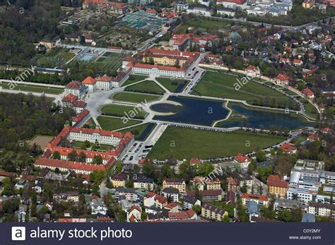 aerial view above nymphenburg palace munich germany stock