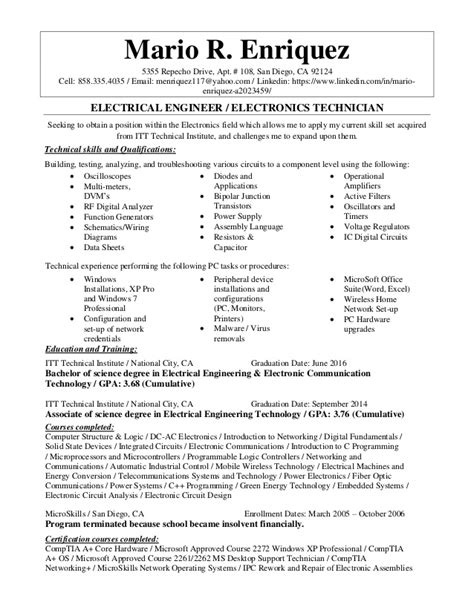 electronic technician resume objective electrical engineer electronics technician resume