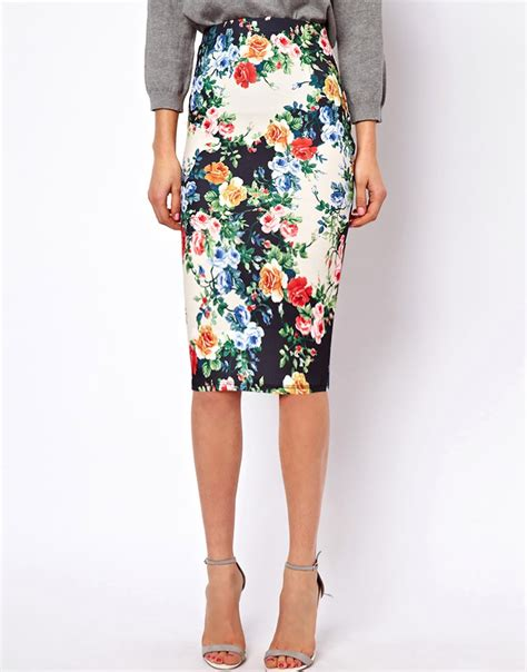 asos asos exclusive pencil skirt in floral