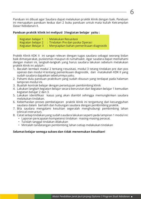 Buku Keterilan Dasar Praktik Klinik Untuk Kebidanan m6 panduan 2 pembelajaran praktik klinik kdk ii