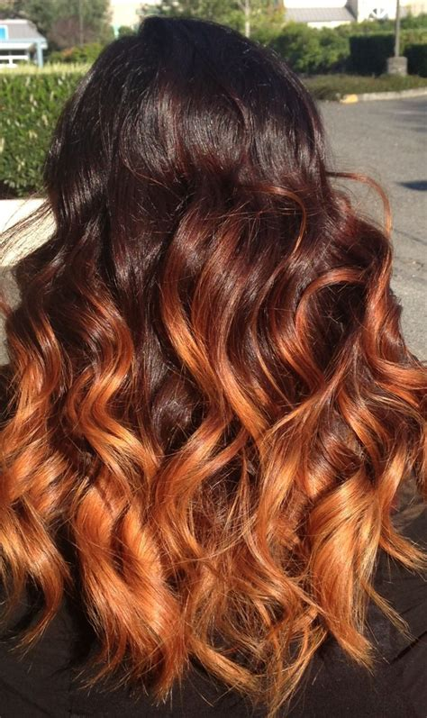 dark blonde on faded red hair orange brown ombre hair hair pinterest caramel ombre