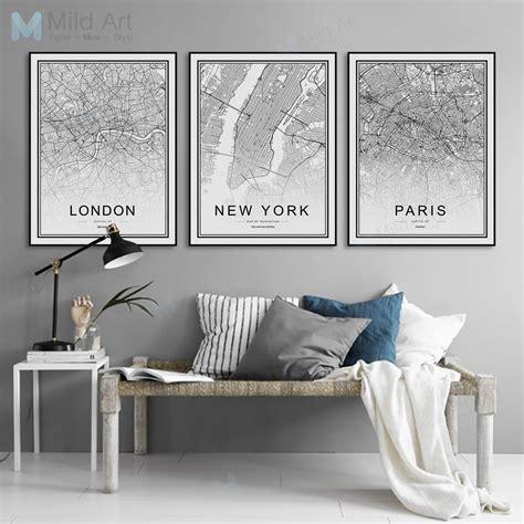 Posters For Living Room - black white world city map york poster nordic