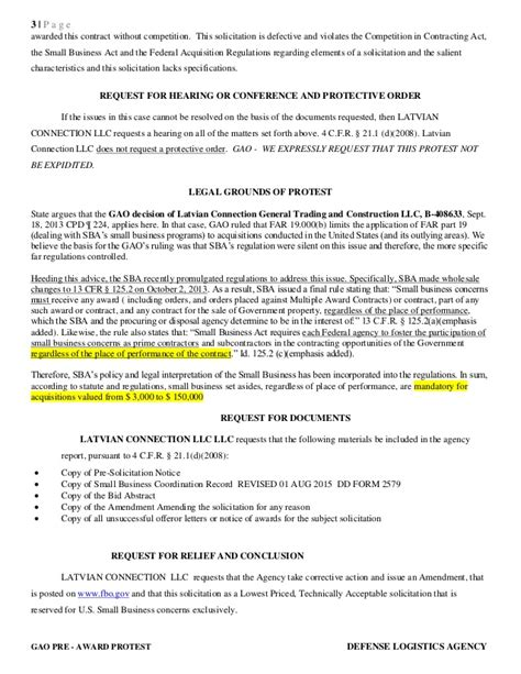 Appeal Letter Template For Dla 131 B 412363 Pre Award Gao Protest Against Dla Michael Upshaw