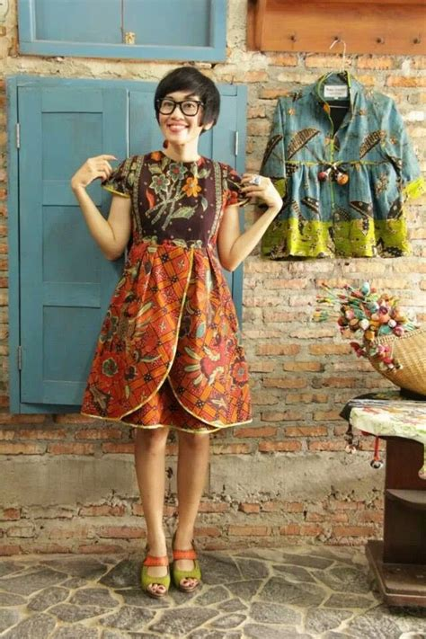 Terusan Batik Sogan B80917023mot10 Dress Batik Modern Grosir Murah 100 gambar baju batik dress mini dengan mini dress batik