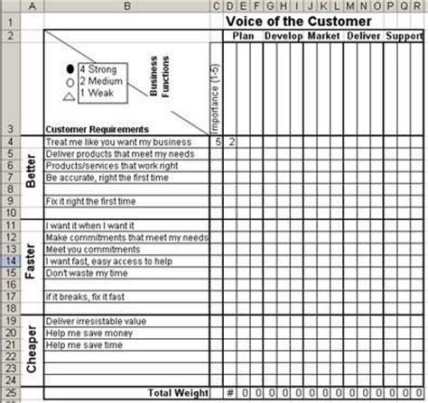 voice of the customer template voice of the customer matrix in excel voice of the