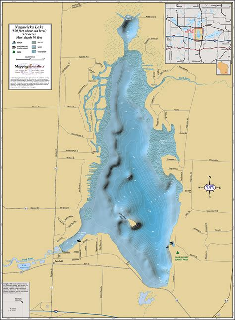 lake map nagawicka lake wall map