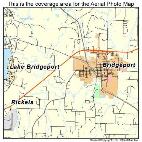 aerial photography map of bridgeport tx
