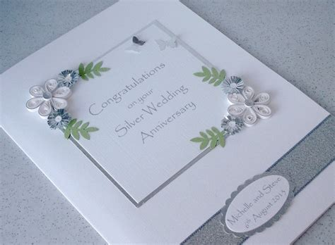 Handmade 25th Anniversary Cards - handmade quilled 25th anniversary card silver wedding