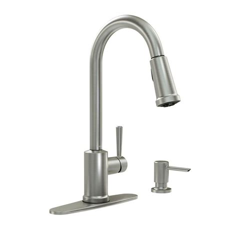 home depot moen kitchen faucets moen indi 1 handle pulldown kitchen faucet with microban and soap spot resist stainless finish