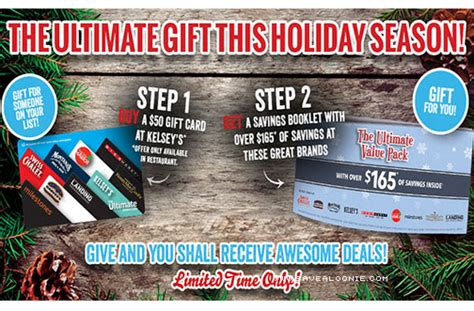 Kelseys Gift Card - kelsey s holiday gift card offer