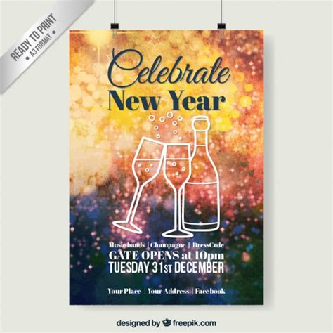 poster of new year new year celebration poster with sketches vector free