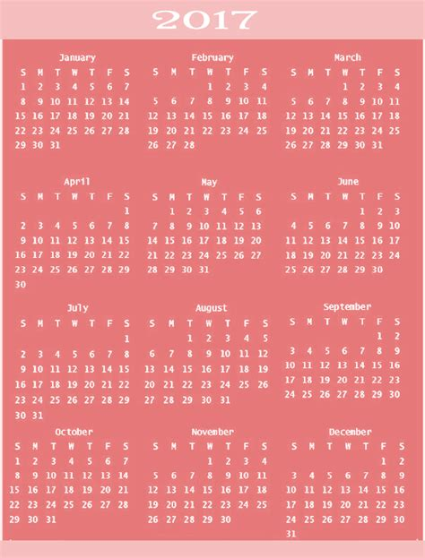 printable calendar 2017 pink calendar 2017 2017 calendar printable for free download