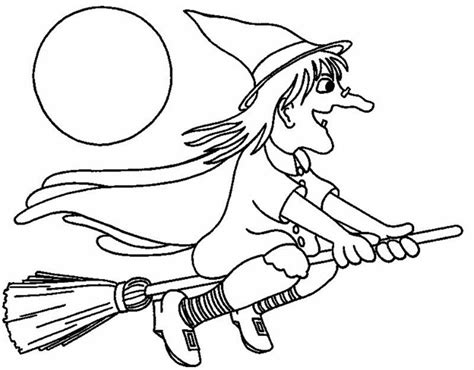 coloring pages witch on a broom coloriage halloween
