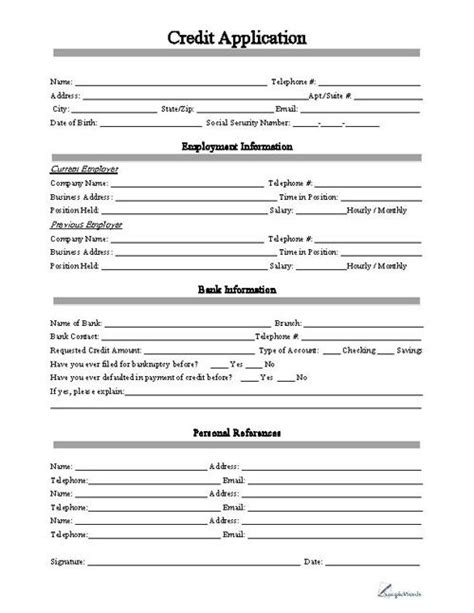 download credit application form templates for free tidyform