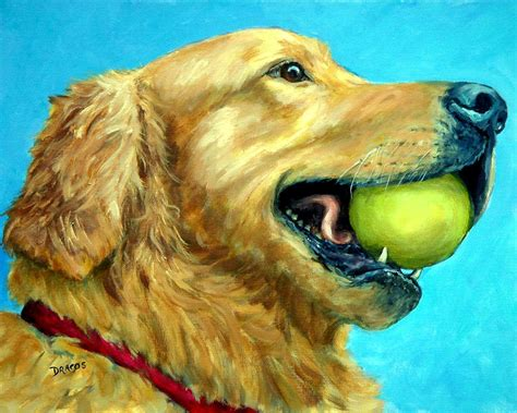 golden retriever tennis golden retriever profile with tennis painting by dottie dracos