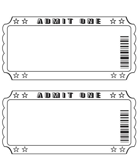 free printable ticket stub template blank ticket templates pinterest movie theater
