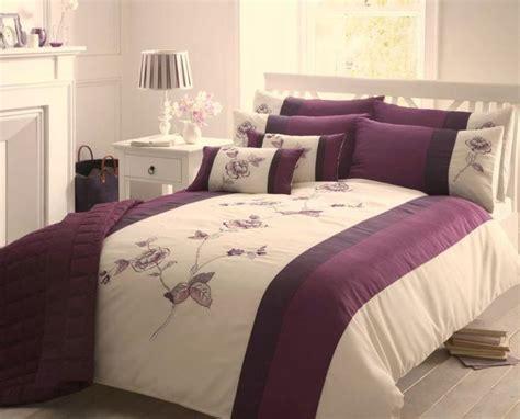 purple cream double duvet cover floral bed set