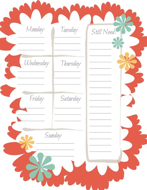 printable menu templates free printable weekly menu planner template