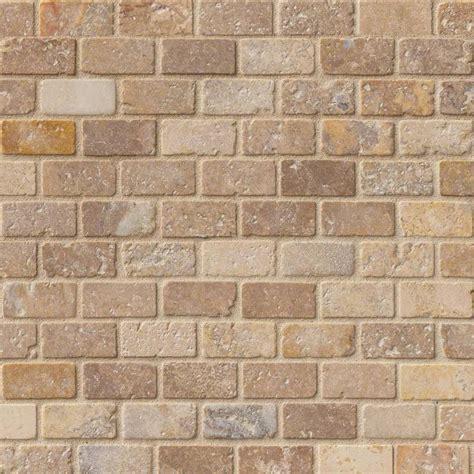 tuscany scabas 1x2 tumbled in 12x12 mesh backsplash tile