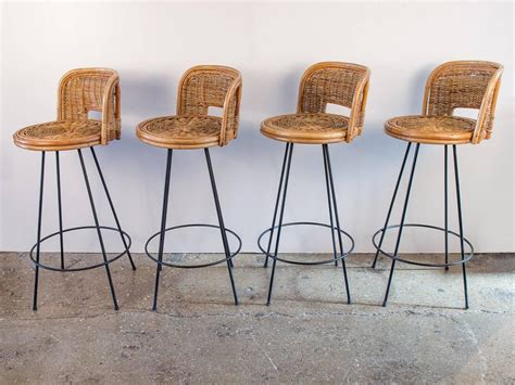 Vintage Rattan Bar Stools by Set Of Four Vintage Rattan Bar Stools At 1stdibs