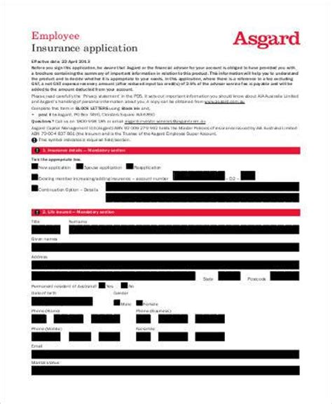 printable employment insurance application printable application form sles 20 free documents in