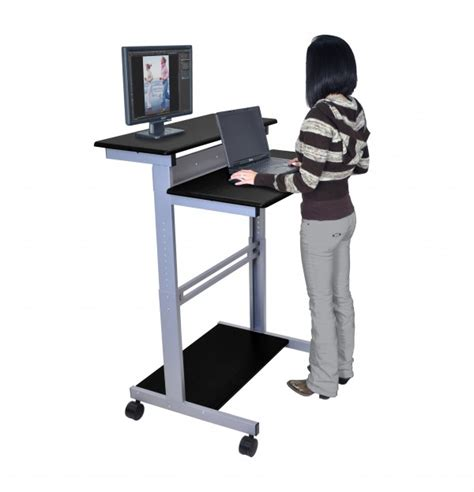 Stand Up Computer Desk 32 Quot Mobile Standing Workstation Stand Up Desk