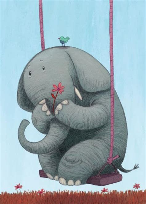 Elephant Themed Baby Swing Illustration Of An Elephant On A Swing Adorable