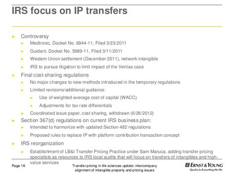 irs section 721 transfer pricing intercompany alignment of intangible