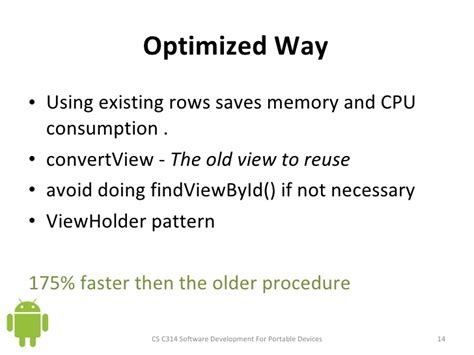 viewholder pattern lecture slides for list views android