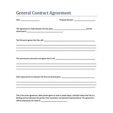 agreement contract template sle contract agreement 44 free documents in