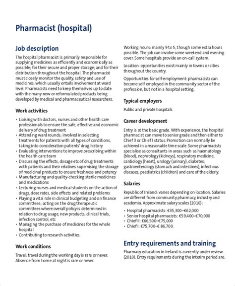 Hospital Pharmacist by 8 Pharmacist Description Sles Sle Templates