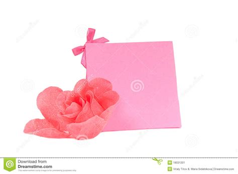 Pink Gift Cards - romantic pink gift card and a flower isolated stock image image 18031201