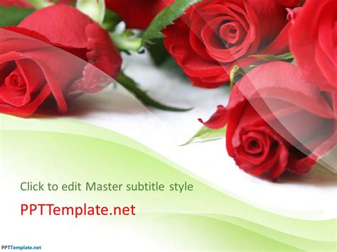 Free Rose Flowers Ppt Template Flowers Powerpoint Template