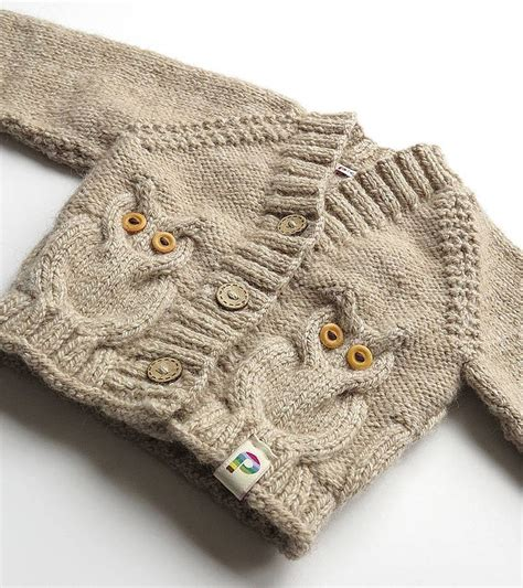 knitting pattern owl sweater baby hand knitted owly cardigan baby hands cable and