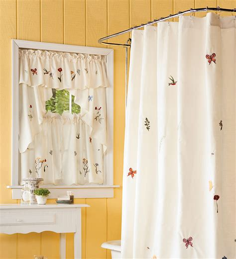 Bathroom Shower Curtains And Window Curtains Emily Floral Window Curtain 36 Quot L Tiers Collection Accessories