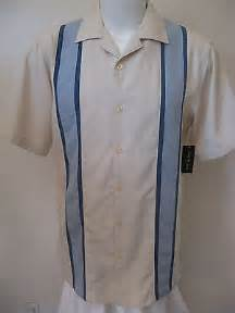 Teva Pretty Rugged 2 New 50s Rockabilly Retro Bowling Shirt Xl Beige Blue Panel