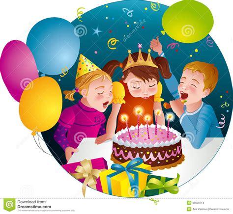 clipart compleanno bambini festa di compleanno di childs bambini soffiano le