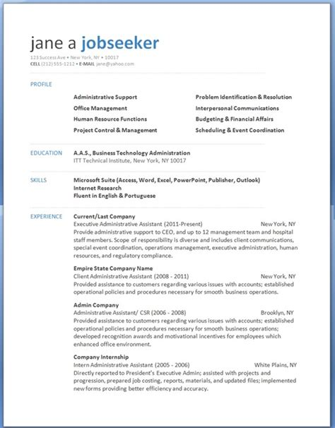 executive assistant resume word template free professional resume templates resume downloads