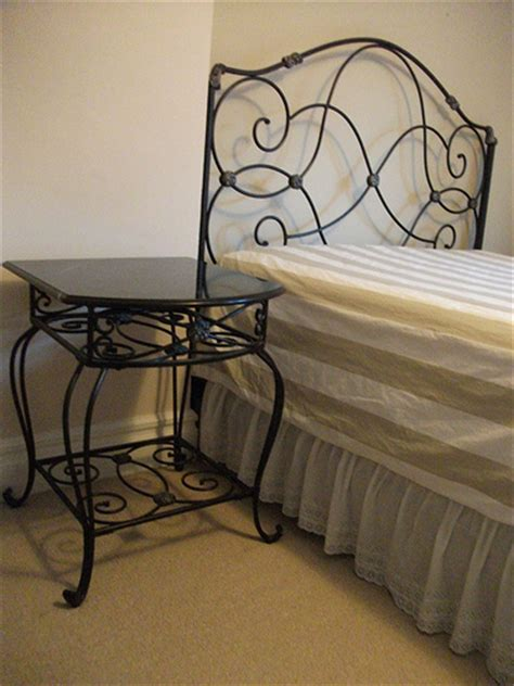 Wrought Iron Bedside Ls Decorative Wrought Iron Bedside Table W Black Marble Top