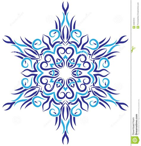 tribal ornament in the shape of snowflakes stock