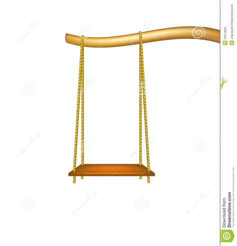 swing free wooden swing hanging from the bough of a tree stock vector