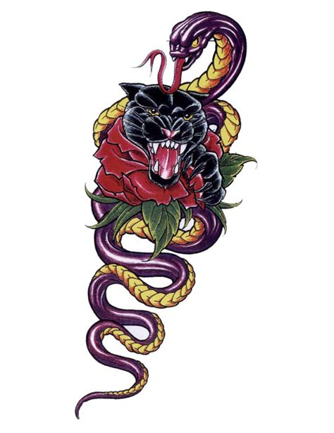 snake rose tattoo designs snake panther dagger shaped free design ideas